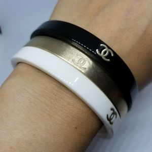 CHANEL Jewelry - 100% authentic Chanel cc logo bangle set